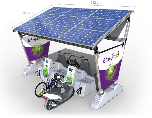 e bike station solarkomponenten. Black Bedroom Furniture Sets. Home Design Ideas